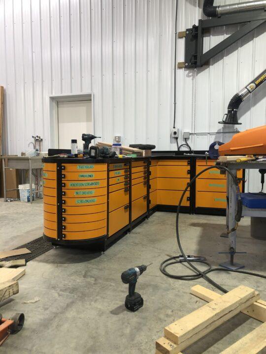 Swivel Storage Solution Pro 80 and Pr051 heavy duty steel workbench 2