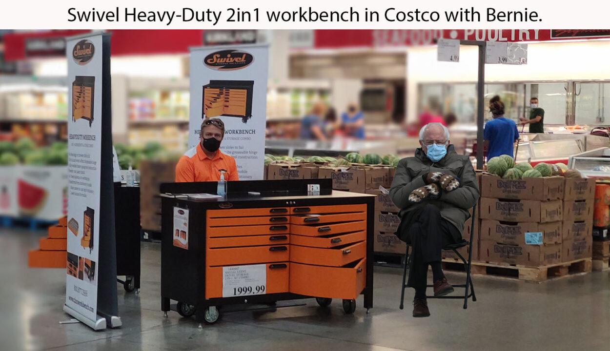 Bernie at Costco with heavy duty steel 2in1 workbench