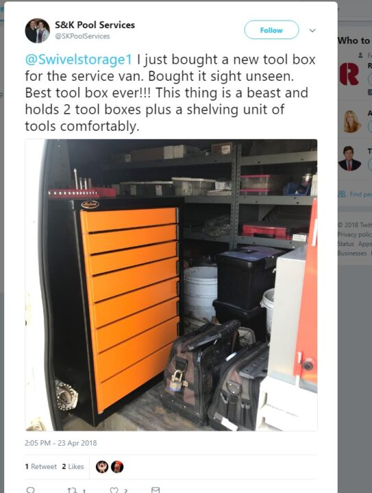 what clients are staying about the swivel storage toolbox